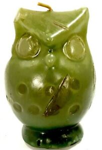 "Vintage Counterpoint Small Olive Green Owl Candle 3.75"" Made in Japan Unused"