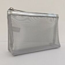 Clinique Small MakeUp/Cosmetic Bag/Purse | Silver Mesh Design | Brand New