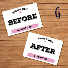 Hen party games before and after signs - A4 - keepsake photos