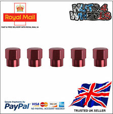 5 x ROSE Aluminium Alloy Tyre Valve Dust Caps 4 +1 Car Bike Bicycle Van