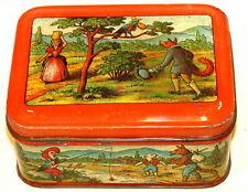 French Fable Jean de la Fontaine Damoiseau Fairy Tale Biscuit Tin 1930s