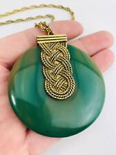 Vintage Khara Solid Perfume Compact Necklace Pendant Marbled Green Disc