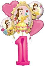 DISNEY PRINCESS BELLE BEAUTY AND THE BEAST 1ST BIRTHDAY PARTY BALLOONS BOUQUET