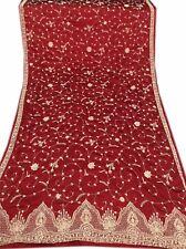 Om Vintage Dupatta Bridal Art Silk Hand Beaded Maroon Scarves Stole W-1137