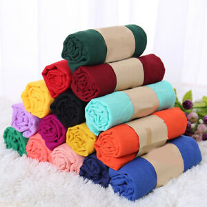 Ladies Candy Color Cotton Linen Hijab Wrap Long Scarf Soft Shawls Autumn Winter