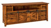 """Amish Rustic TV Stand Cabinet Solid Wood Barn Door Sliding Track System 72"""""""