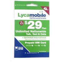 LYCAMOBILE Prepaid Simcard $29 X2 Months Plan Preloaded Text Talk Data Intl Call