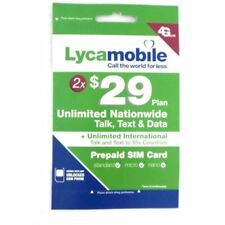 LYCAMOBILE $ 29 X 2 Months Plan PRELOADED  SIMCARD Text Talk Data & Intl Calling