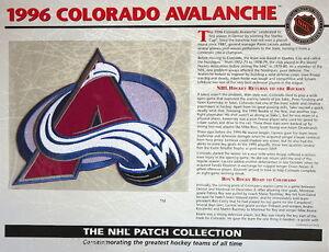 1996 COLORADO AVALANCHE Willabee Ward NHL THROWBACK HOCKEY TEAM PATCH Stat Card