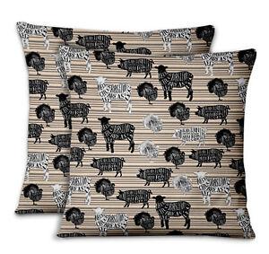 S4Sassy Stencil Cow & Pig Printed Sofa Cushion Cover  Throw Pillow 2Pcs-AN-553E