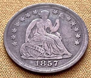 1857 SEATED LIBERTY HALF DIME US USA SILVER 5C COIN