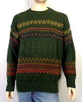 vtg 90s The GAP men's Knit Crewneck Geometric Ski Sweater Holiday sz L