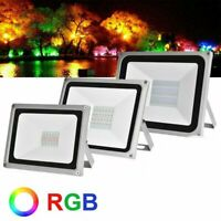 RGB LED Flood Light 100W 50W 30W Outdoor Color Changing Lights W/ Remote Control