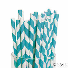 Turquoise Striped Paper Straws 24 Pack