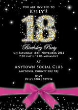 Birthday Invite Diamond number black Personalised 18 21 30th etc inc envelopes