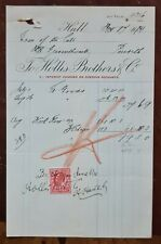 1909 Hollis Brothers & Co., Hull Invoice