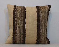 Organic Cream wool with natural brown sheep wool Kilim Pillow Cover 20x20 inches