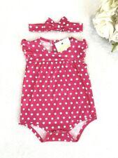 NEW Size 0-3 months Baby Girls Bodysuit Pretty Red Polkadot Bodysuit & Headband