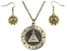 Pendant Necklace & Earring Set Gravity Falls Bill Cipher Boss Logo