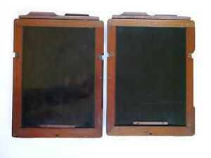 Antique Mahogany & Brass - Whole Plate / Full Plate Holders - 2 Off