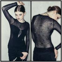 Devil Fashion TT002 Womens  Gothic Punk Black Spider Web Mesh Long SleeveTop