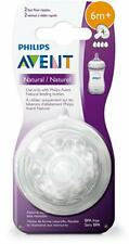 Phillips Avent Natural Nipple Fast Flow, 2 Ct, 6 Month Baby - Brand New Sealed