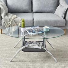 Modern Coffee Table Glass Living Room Furniture w/ Black Mesh Magazine Holder