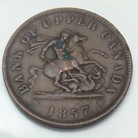 1857 Bank Upper Canada One 1 Large Copper Penny Circulated Canadian Token G590