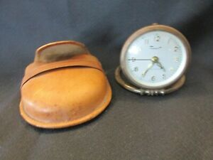 S38 vintage enver clock and watch corp Germany travel alarm clock leather case