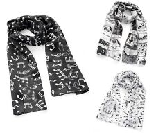Musical Note Satin Music Notes Chiffon Ladies Womens Scarf Shawl Wrap