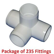 "3/4"" Furniture Grade 4-Way Side Outlet Tee PVC Fitting - 235 Pack"