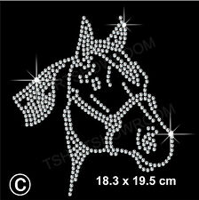 CAVALLO con strass / Diamante transfer HOTFIX FERRO DA STIRO Motif Appliqué in Cristallo Regalo