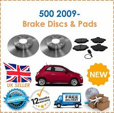 For Fiat 500 1.2 1.4 2009- Front Brake Discs & Brake Pads With Sensor New