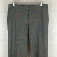 TALBOTS womens size 8 stretch gray wool blend flat front wide leg dress pant EUC