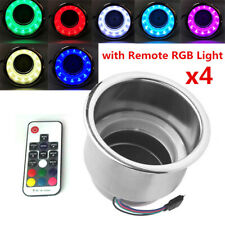 4PC Stainless Steel Cup Drink Holder 14 LED Remote RGB Lights for Marine Boat RV
