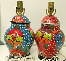 Table Lamp Ceramic Mexican Talavera Pair Set of 2 Multicolor