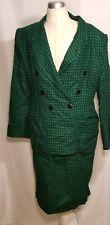 Studio Max Skirt Suit Sz 12 Green & Black Checks Lined Wool