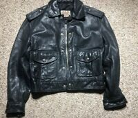 VTG Womens Diesel Genuine Leather BOMBER Jacket SECURITY POLICE PATROL SZ S