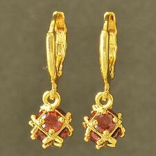 Stunning 14K Yellow Gold Filled Red Ruby Ladies Megic-Ball Dangle earing