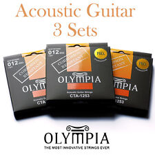 3 Sets / Packs Of Olympia 12-53 Acoustic Guitar Strings + Corrosion Resistance