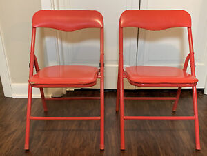 Set Of 2 Vintage Childrens Folding Chairs Metal W/Padded Seats 2/Red
