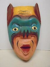 Tiki Bar Tribal Mask Hand Carved Wooden Painted Vintage Rustic Devil Tropical