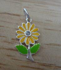 Sterling Silver 21x12mm Yellow & Green Enamel Daisy Flower Clear Charm