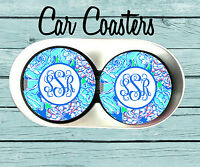 Monogram Car Coaster,Lilly Pulitzer Inspired, Personalized Car Coaster Gift