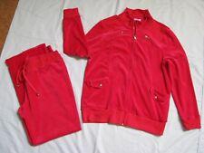 Breezy XL 2 Pc Xmas Red Velour Zip Jacket & Pants Suit Casual Sport Leisure NWOT