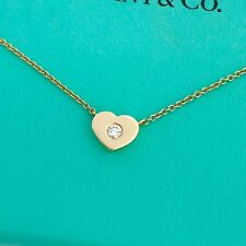 "Tiffany & Co 18k Yellow Gold Diamond Heart Necklace 16"" $1800 New W/packing"