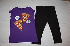 Girls Purple Tee Shirt PEPERONI PIZZA LOVE QUOTES Black Capri Leggings L 10-12
