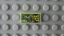 White LEGO 5986 Tile 1 x 2 with Minifig and Jungle Ruins Pattern