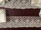 Remarkable edging lengths 19th C. handmade floral Mechlin bobbin lace COSTUME