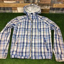 Medium Mens Diesel Checked Hooded Jacket - Blue/White Designer Hoodie Top